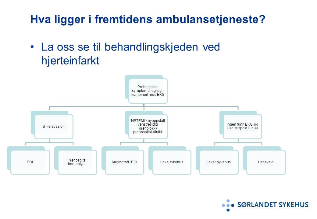 Hva ligger i fremtidens ambulansetjeneste? La oss se til behandlingskjeden ved hjerteinfarkt Prehospitale symptomer og tegn kombinert med EKG ST-eleva