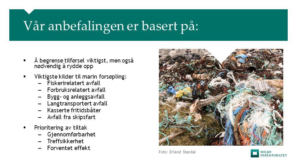 Foto: Erlend Standal Vår anbefalingen er basert på:  Å begrense tilførsel viktigst, men også nødvendig å rydde opp  Viktigste kilder til marin forsø