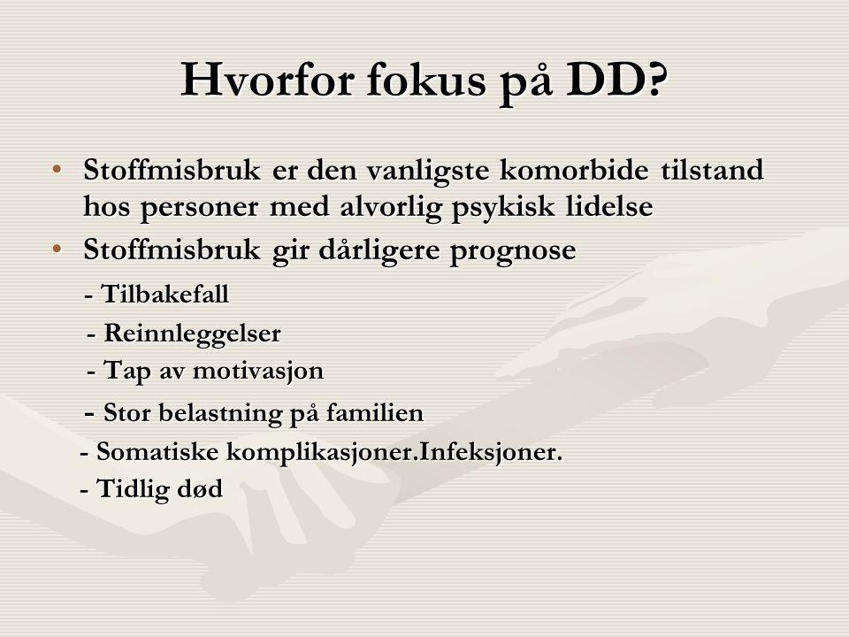 Hvorfor fokus på DD? Stoffmisbruk er den vanligste komorbide tilstand hos personer med alvorlig psykisk lidelseStoffmisbruk er den vanligste komorbide