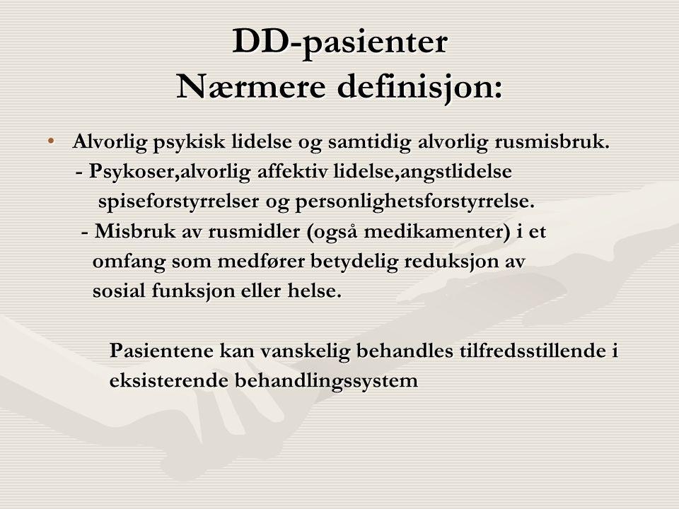 DD-pasienter Nærmere definisjon: Alvorlig psykisk lidelse og samtidig alvorlig rusmisbruk.Alvorlig psykisk lidelse og samtidig alvorlig rusmisbruk. -