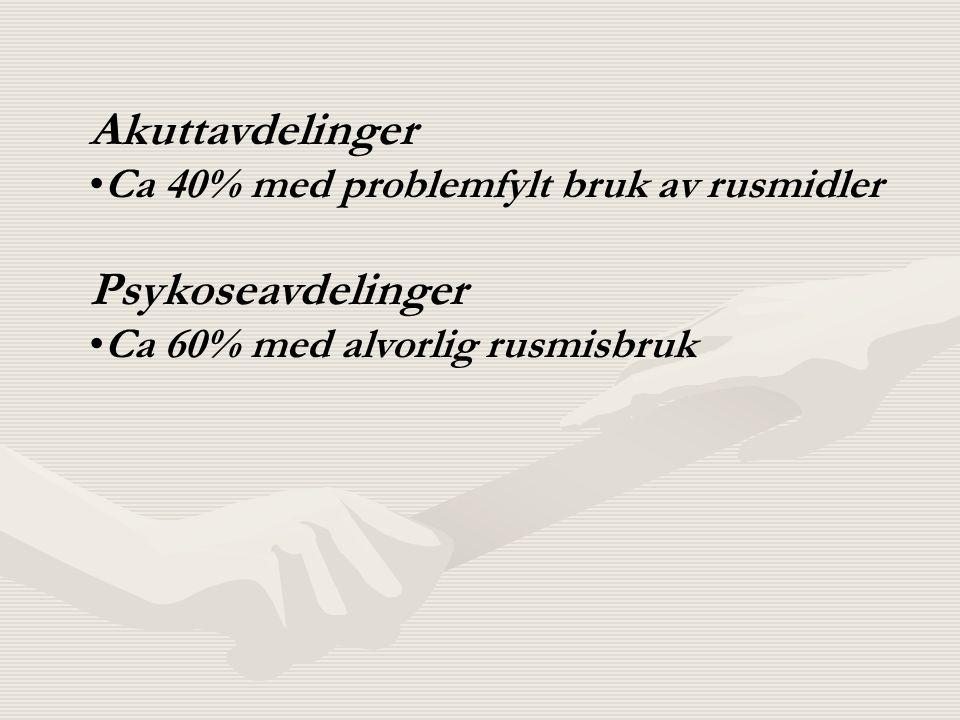 Akuttavdelinger Ca 40% med problemfylt bruk av rusmidler Psykoseavdelinger Ca 60% med alvorlig rusmisbruk