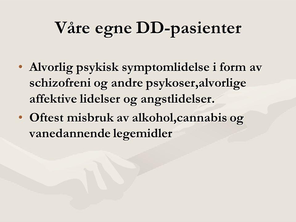 Våre egne DD-pasienter Alvorlig psykisk symptomlidelse i form av schizofreni og andre psykoser,alvorlige affektive lidelser og angstlidelser.Alvorlig