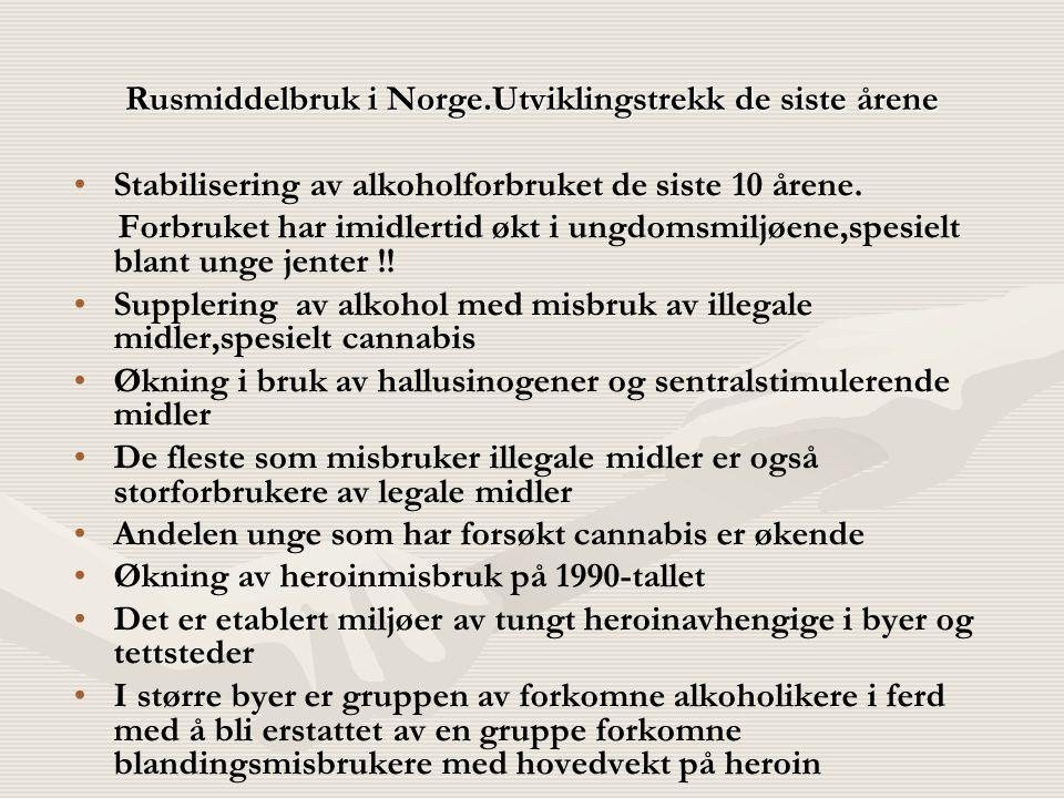 Rusmiddelbruk i Norge.Utviklingstrekk de siste årene Stabilisering av alkoholforbruket de siste 10 årene. Forbruket har imidlertid økt i ungdomsmiljøe