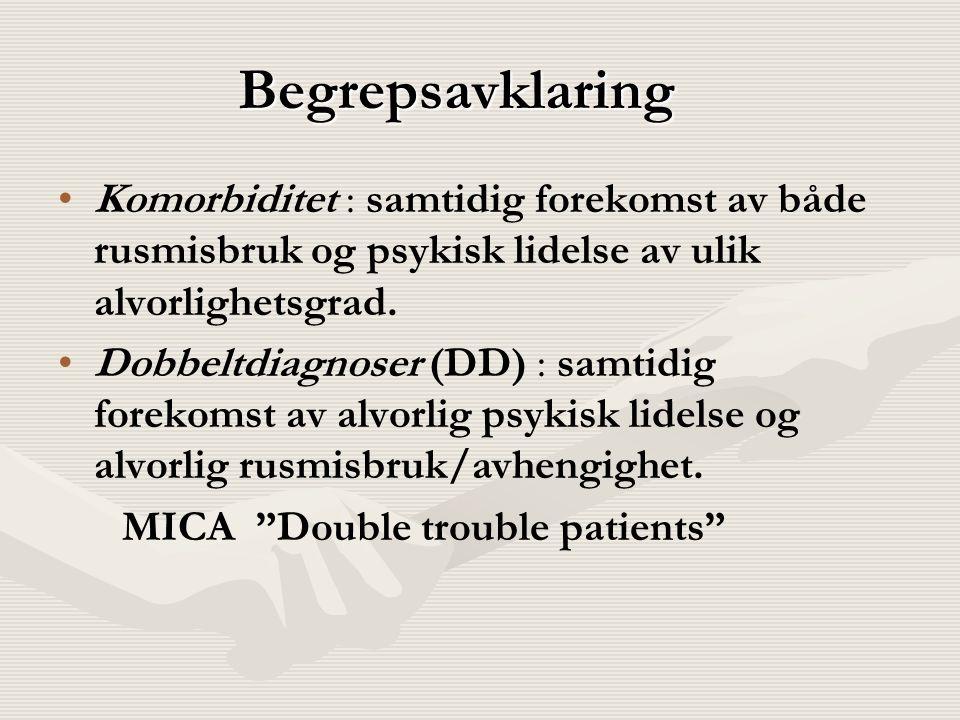 Begrepsavklaring Komorbiditet : samtidig forekomst av både rusmisbruk og psykisk lidelse av ulik alvorlighetsgrad. Dobbeltdiagnoser (DD) : samtidig fo