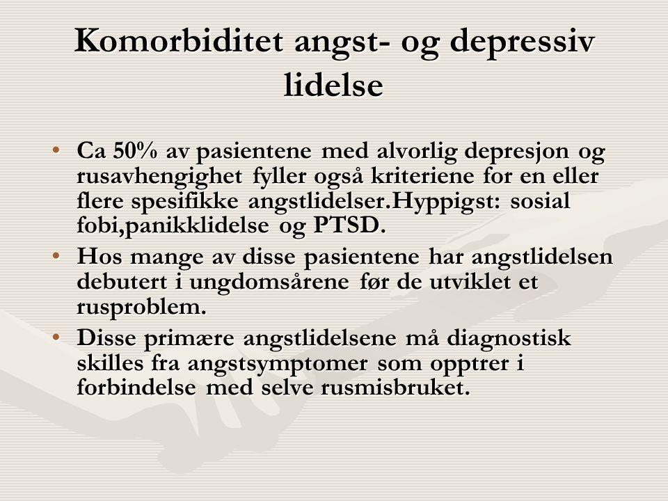 Komorbiditet angst- og depressiv lidelse Ca 50% av pasientene med alvorlig depresjon og rusavhengighet fyller også kriteriene for en eller flere spesi