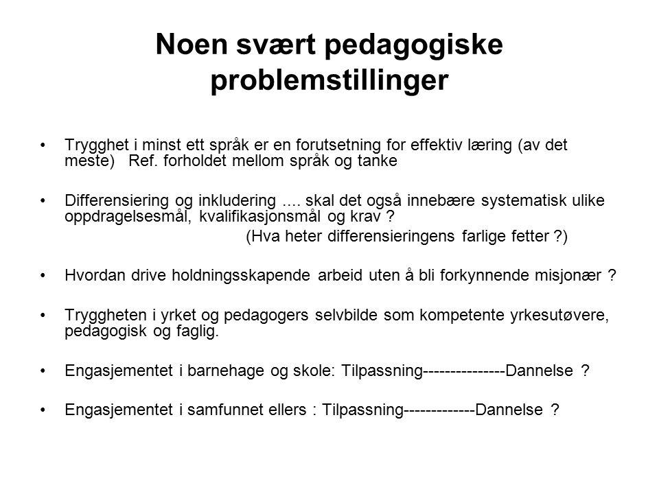 Noen svært pedagogiske problemstillinger Trygghet i minst ett språk er en forutsetning for effektiv læring (av det meste) Ref. forholdet mellom språk