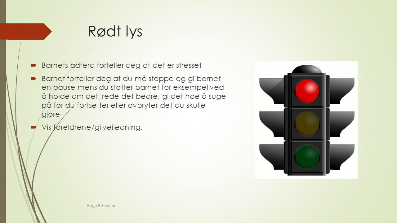 Rødt lys  Barnets adferd forteller deg at det er stresset  Barnet forteller deg at du må stoppe og gi barnet en pause mens du støtter barnet for eksempel ved å holde om det, rede det bedre, gi det noe å suge på før du fortsetter eller avbryter det du skulle gjøre  Vis foreldrene/gi veiledning.
