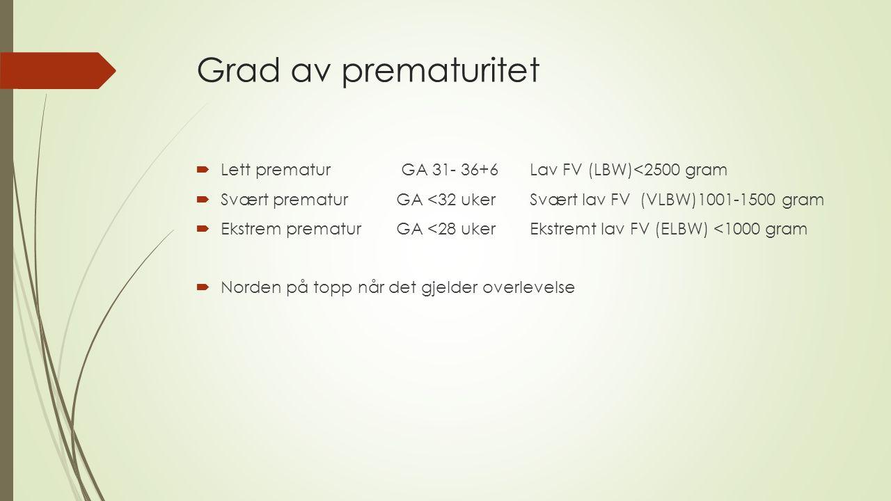 Grad av prematuritet  Lett prematur GA 31- 36+6Lav FV (LBW)<2500 gram  Svært prematur GA <32 ukerSvært lav FV (VLBW)1001-1500 gram  Ekstrem prematurGA <28 ukerEkstremt lav FV (ELBW) <1000 gram  Norden på topp når det gjelder overlevelse