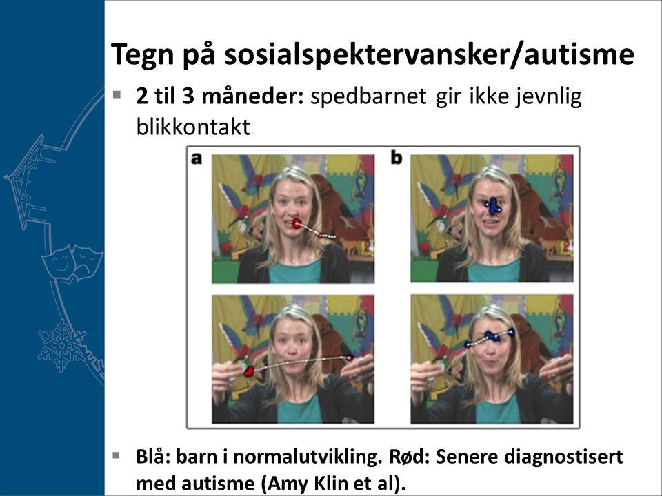 Tegn på sosialspektervansker/autisme  2 til 3 måneder: spedbarnet gir ikke jevnlig blikkontakt  Blå: barn i normalutvikling.