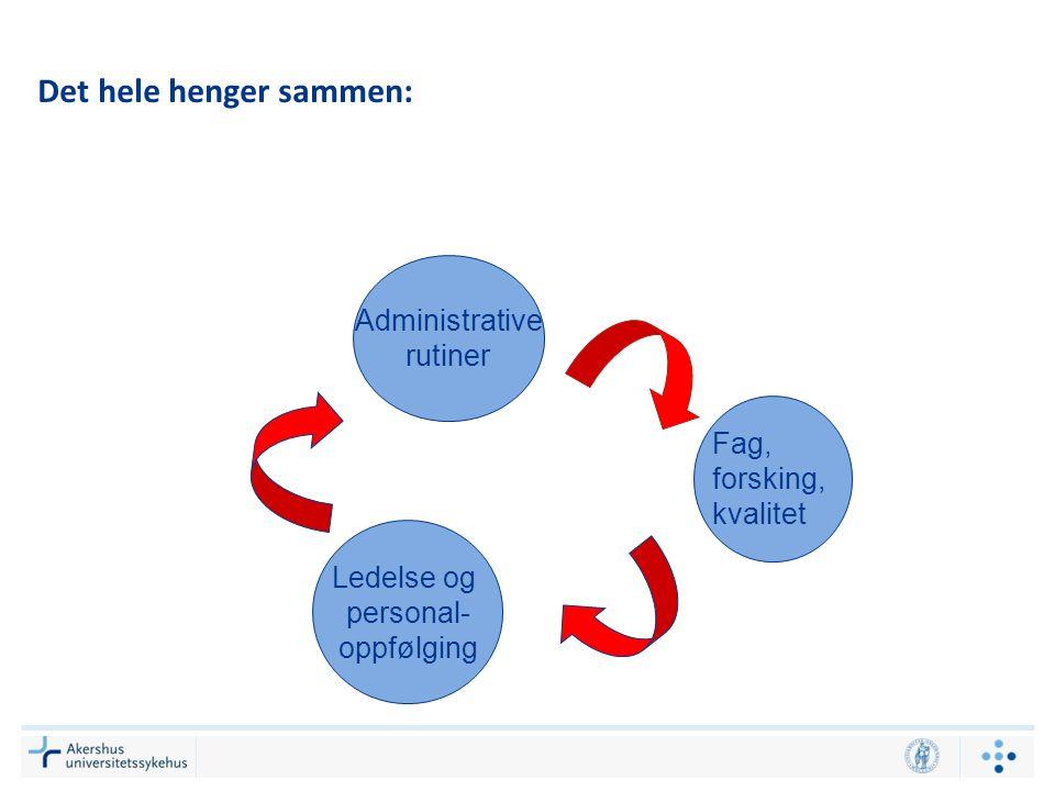 Det hele henger sammen: Administrative rutiner Ledelse og personal- oppfølging Fag, forsking, kvalitet