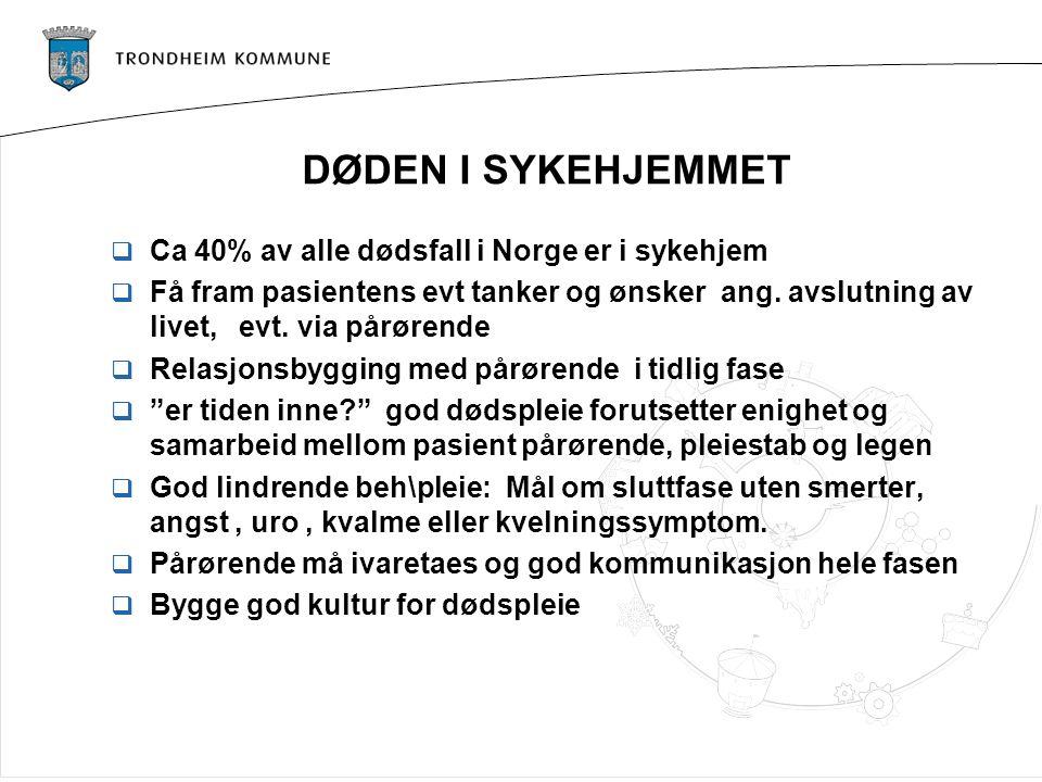 DØDEN I SYKEHJEMMET  Ca 40% av alle dødsfall i Norge er i sykehjem  Få fram pasientens evt tanker og ønsker ang. avslutning av livet, evt. via pårør