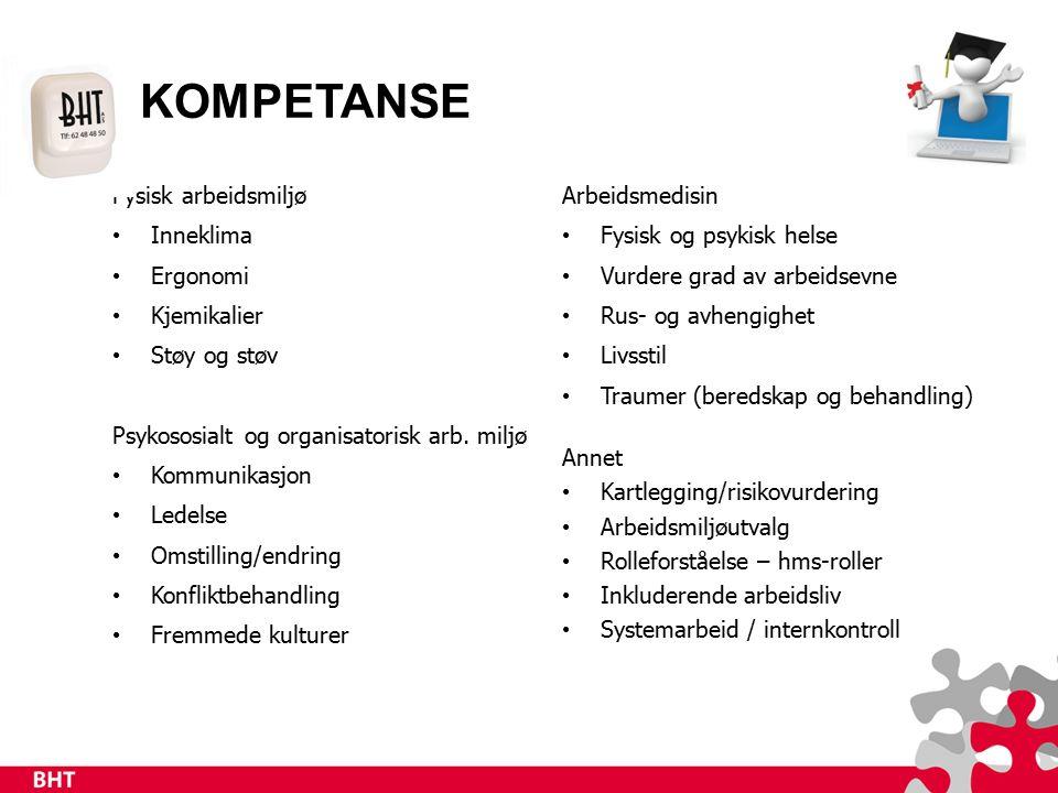 KOMPETANSE Fysisk arbeidsmiljø Inneklima Ergonomi Kjemikalier Støy og støv Psykososialt og organisatorisk arb.