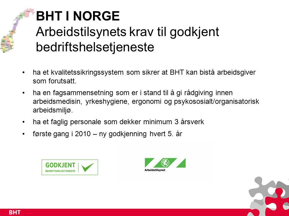 BHT I NORGE Arbeidstilsynets krav til godkjent bedriftshelsetjeneste ha et kvalitetssikringssystem som sikrer at BHT kan bistå arbeidsgiver som forutsatt.