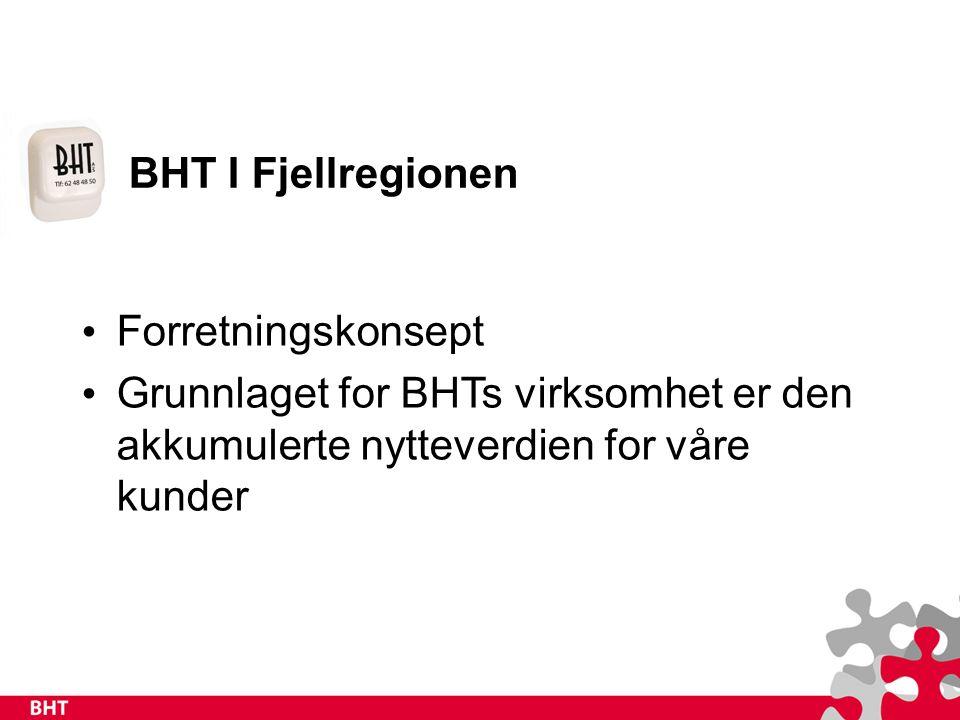 BHT I Fjellregionen Forretningskonsept Grunnlaget for BHTs virksomhet er den akkumulerte nytteverdien for våre kunder