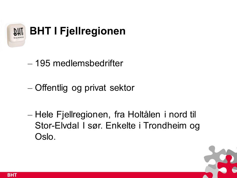 BHT I Fjellregionen – 195 medlemsbedrifter – Offentlig og privat sektor – Hele Fjellregionen, fra Holtålen i nord til Stor-Elvdal I sør.