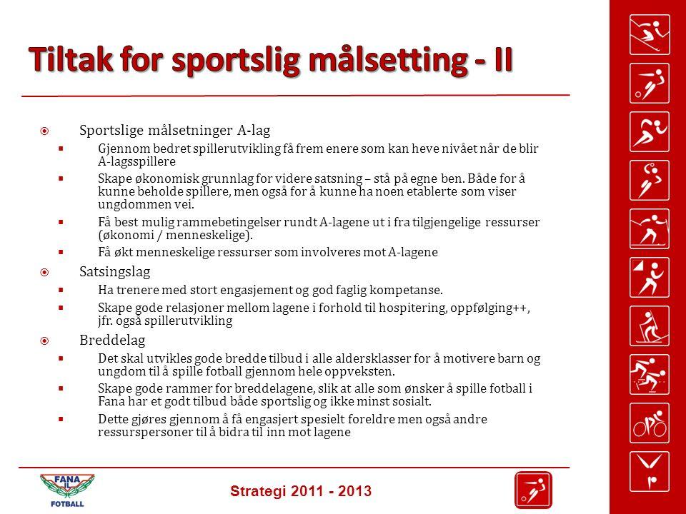 Strategi 2011 - 2013  Sportslige målsetninger A-lag  Gjennom bedret spillerutvikling få frem enere som kan heve nivået når de blir A-lagsspillere  Skape økonomisk grunnlag for videre satsning – stå på egne ben.