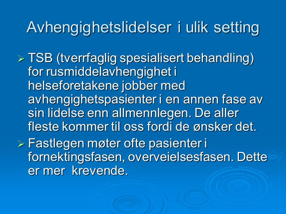 Nordlandsklinikken  Landsdelens eldste rusbehandlingsinstitusjon  Lokalisert til Håkvika like sør for Narvik  3 plasser i skjermet avdeling til avrusning, skjerming og tvang  24 plasser i åpen avdeling for behandling av alle typer avhengighetslidelser.