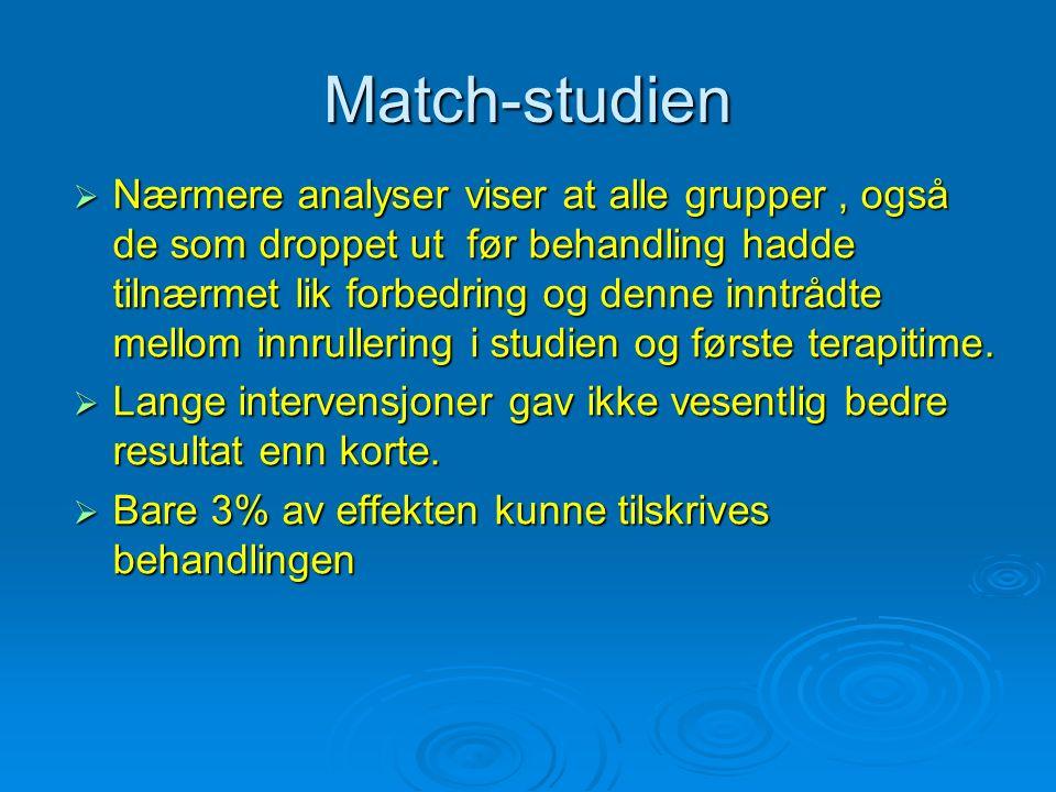 Match-studien  Nærmere analyser viser at alle grupper, også de som droppet ut før behandling hadde tilnærmet lik forbedring og denne inntrådte mellom innrullering i studien og første terapitime.