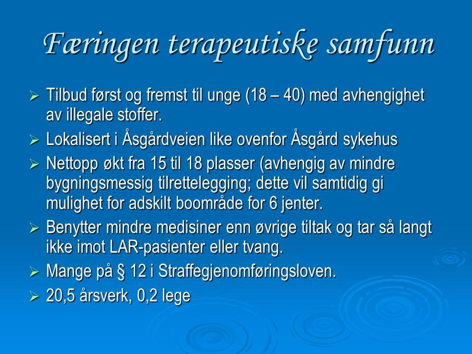 Færingen terapeutiske samfunn  Tilbud først og fremst til unge (18 – 40) med avhengighet av illegale stoffer.