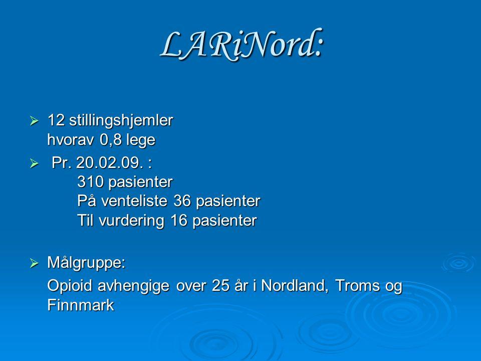 LARiNord:  12 stillingshjemler hvorav 0,8 lege  Pr.