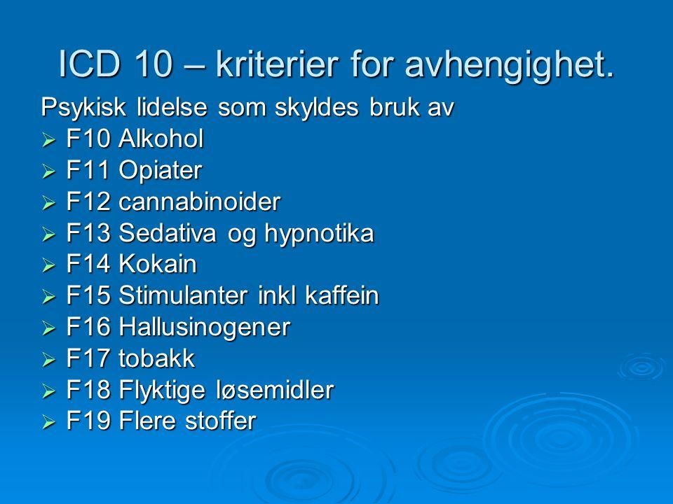 ICD 10 – kriterier for avhengighet.