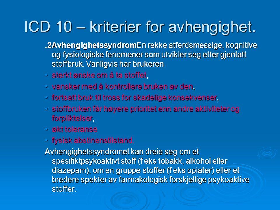 ICD 10 – kriterier for avhengighet..2AvhengighetssyndromEn rekke atferdsmessige, kognitive og fysiologiske fenomener som utvikler seg etter gjentatt stoffbruk.