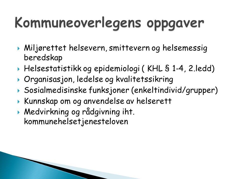  Miljørettet helsevern, smittevern og helsemessig beredskap  Helsestatistikk og epidemiologi ( KHL § 1-4, 2.ledd)  Organisasjon, ledelse og kvalite
