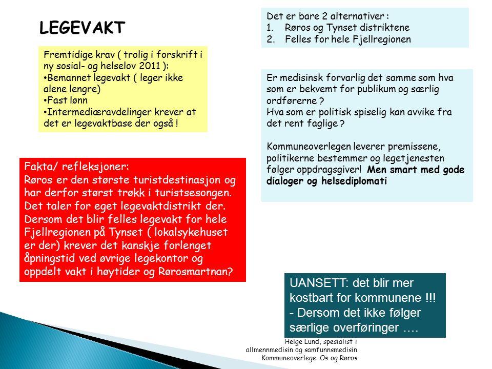 Helge Lund, spesialist i allmennmedisin og samfunnsmedisin Kommuneoverlege Os og Røros LEGEVAKT Det er bare 2 alternativer : 1.Røros og Tynset distrik