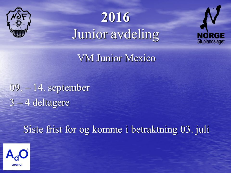 2016 Junior avdeling VM Junior Mexico 09. – 14.