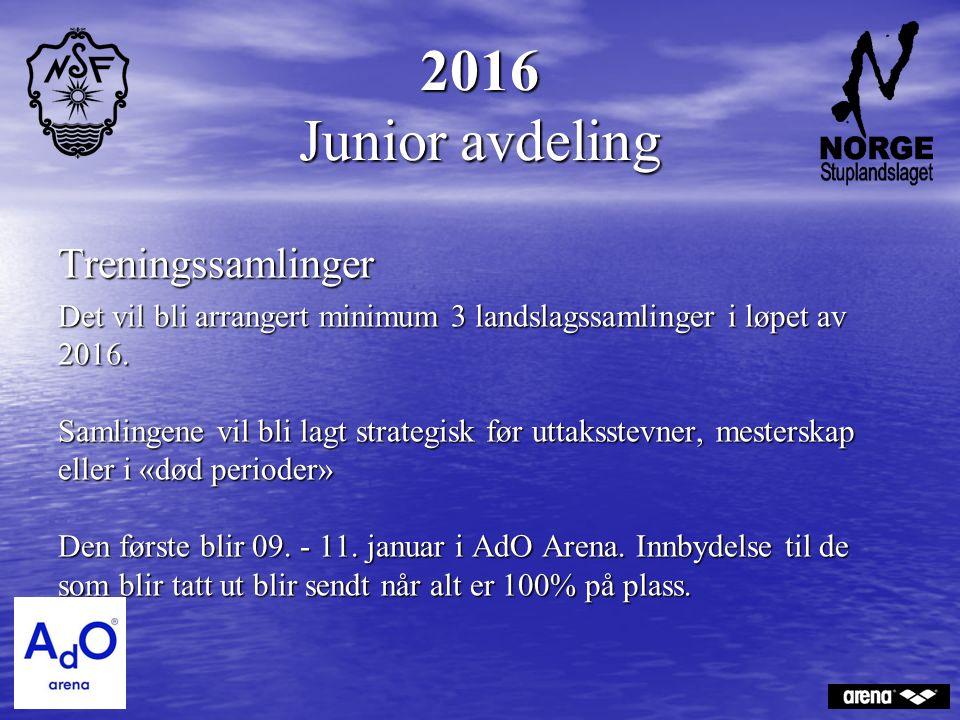 2016 Junior avdeling Treningssamlinger Det vil bli arrangert minimum 3 landslagssamlinger i løpet av 2016.