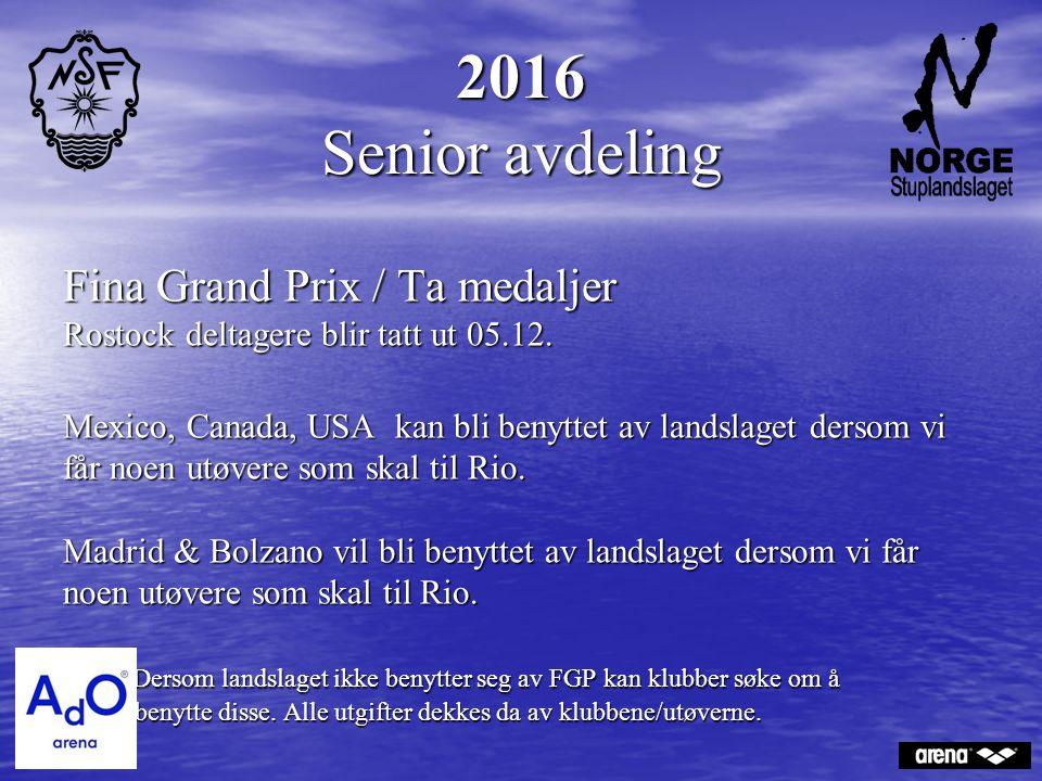2016 Senior avdeling Fina Grand Prix / Ta medaljer Rostock deltagere blir tatt ut 05.12. Mexico, Canada, USA kan bli benyttet av landslaget dersom vi