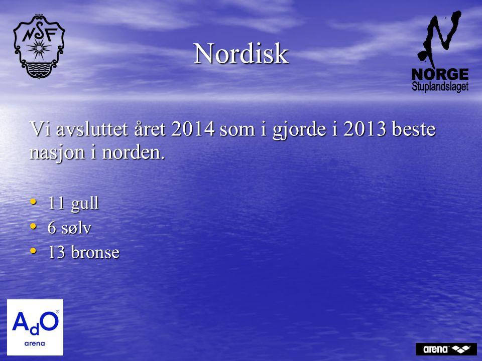 Nordisk Vi avsluttet året 2014 som i gjorde i 2013 beste nasjon i norden. 11 gull 11 gull 6 sølv 6 sølv 13 bronse 13 bronse