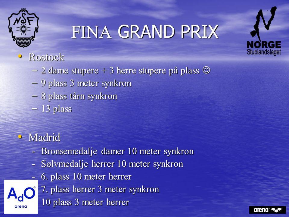 FINA GRAND PRIX Rostock Rostock – 2 dame stupere + 3 herre stupere på plass – 2 dame stupere + 3 herre stupere på plass – 9 plass 3 meter synkron – 8