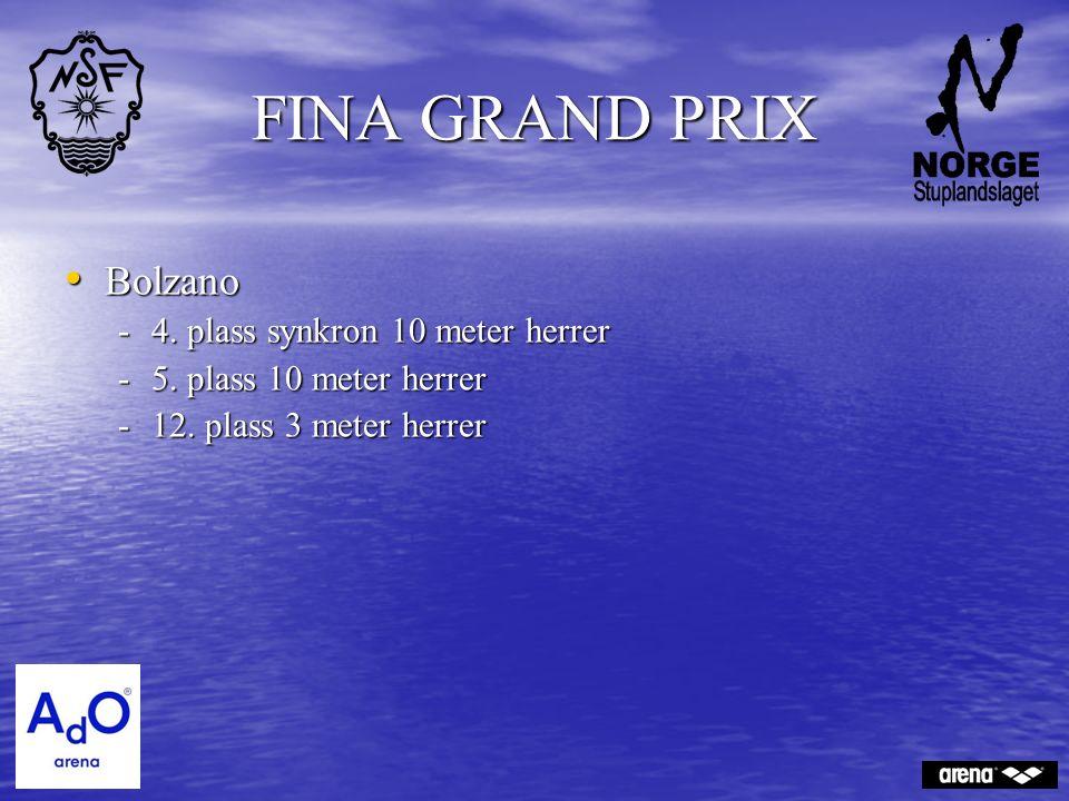 FINA GRAND PRIX Bolzano Bolzano -4. plass synkron 10 meter herrer -5. plass 10 meter herrer -12. plass 3 meter herrer