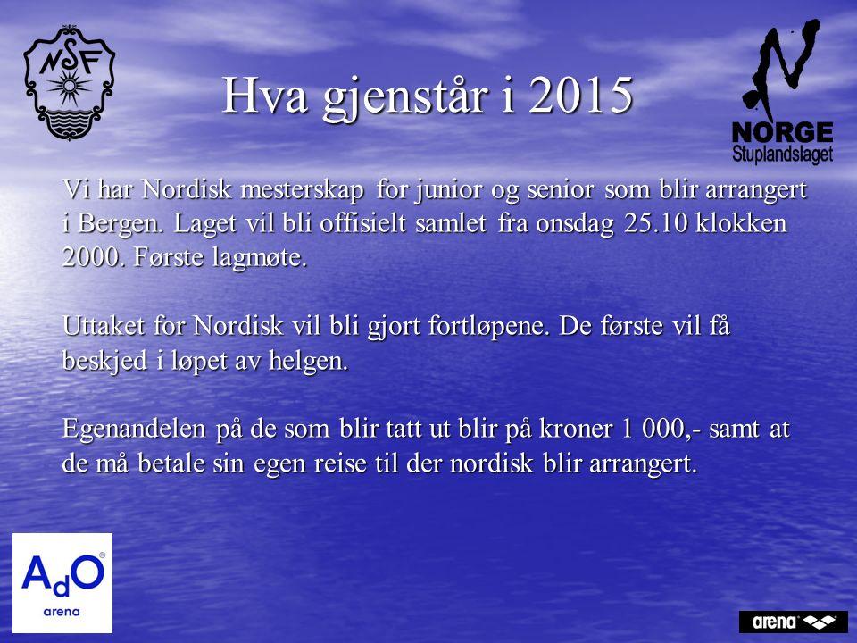 Hva gjenstår i 2015 Vi har Nordisk mesterskap for junior og senior som blir arrangert i Bergen. Laget vil bli offisielt samlet fra onsdag 25.10 klokke