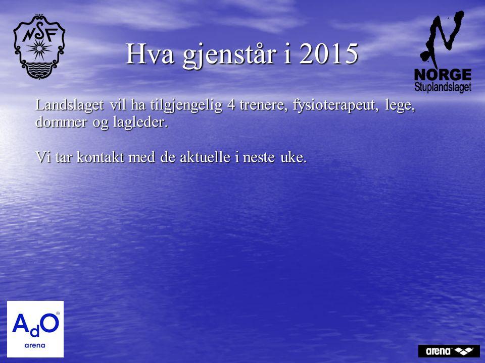 Hva gjenstår i 2015 Landslaget vil ha tilgjengelig 4 trenere, fysioterapeut, lege, dommer og lagleder.