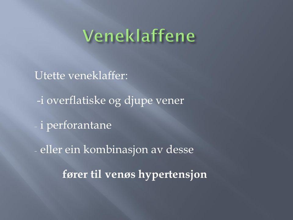 Utette veneklaffer: -i overflatiske og djupe vener - i perforantane - eller ein kombinasjon av desse fører til venøs hypertensjon