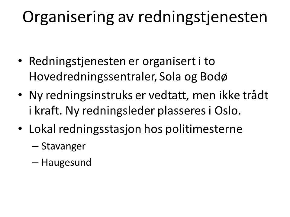 Organisering av redningstjenesten Redningstjenesten er organisert i to Hovedredningssentraler, Sola og Bodø Ny redningsinstruks er vedtatt, men ikke t