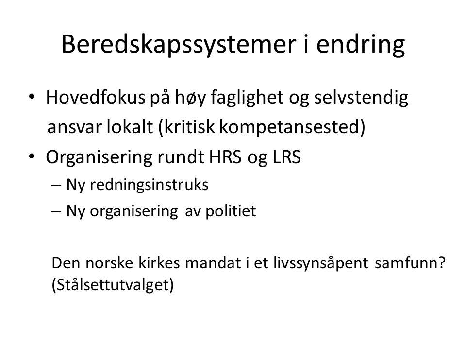 Beredskapssystemer i endring Hovedfokus på høy faglighet og selvstendig ansvar lokalt (kritisk kompetansested) Organisering rundt HRS og LRS – Ny redn