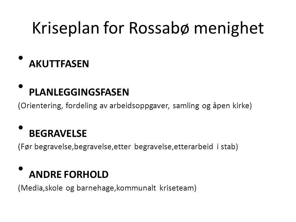 Kriseplan for Rossabø menighet AKUTTFASEN PLANLEGGINGSFASEN (Orientering, fordeling av arbeidsoppgaver, samling og åpen kirke) BEGRAVELSE (Før begrave