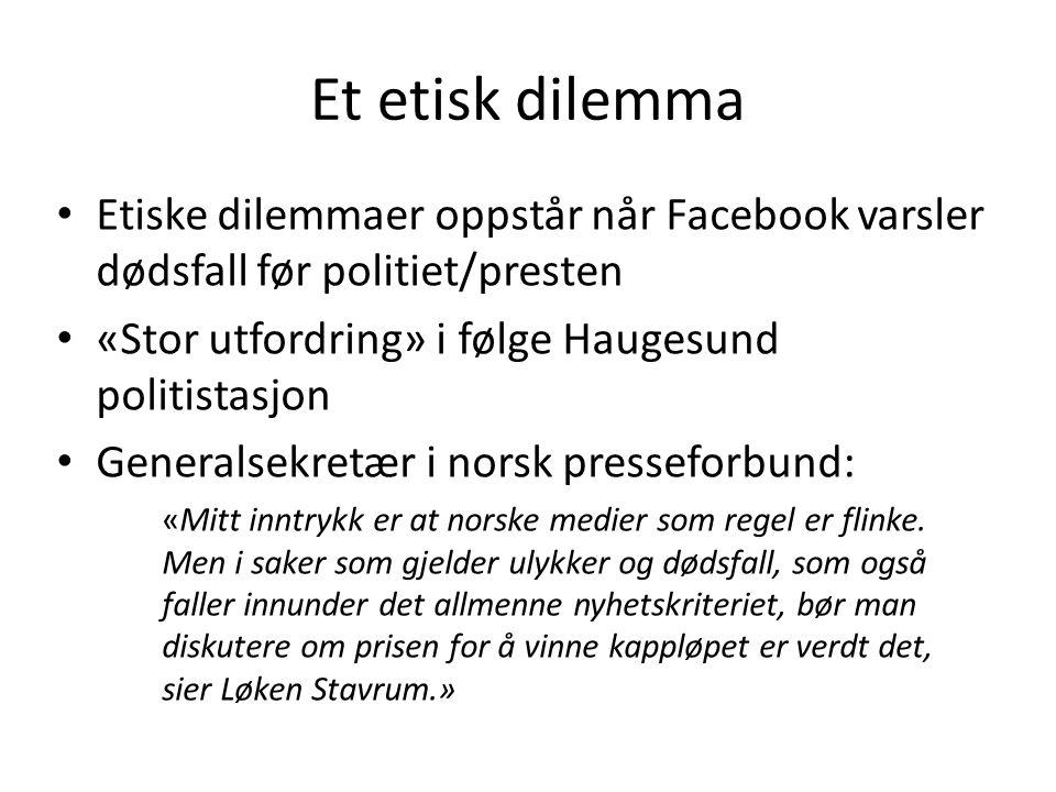 Et etisk dilemma Etiske dilemmaer oppstår når Facebook varsler dødsfall før politiet/presten «Stor utfordring» i følge Haugesund politistasjon General
