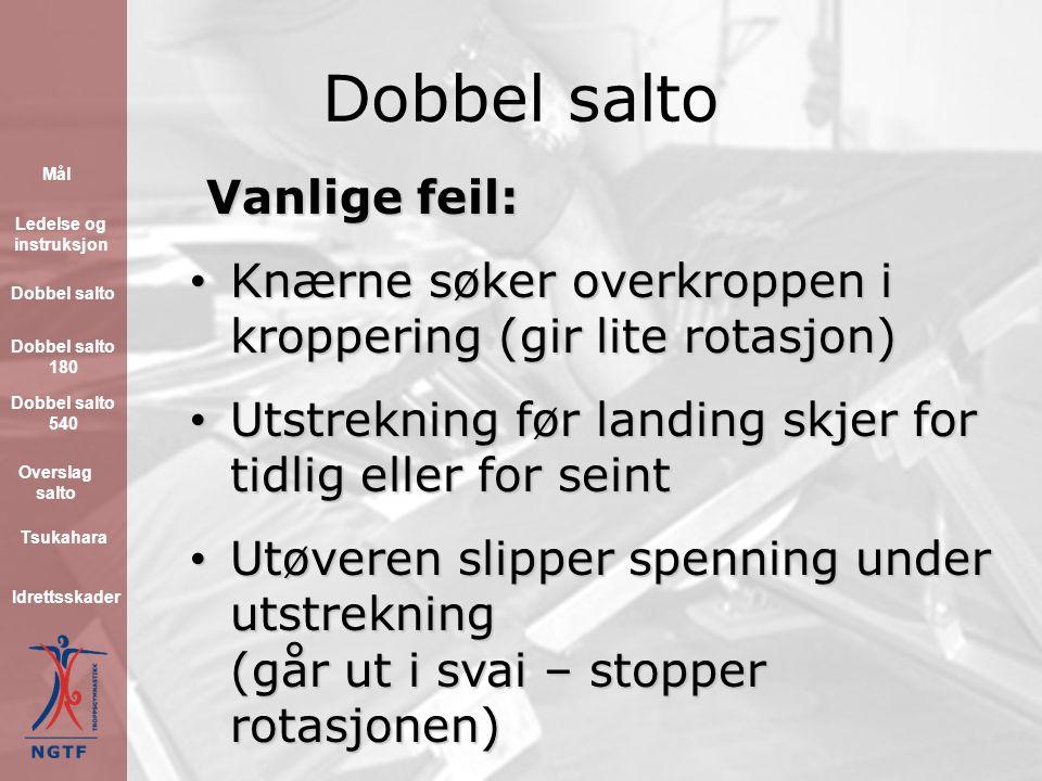 Dobbel salto Vanlige feil: Vanlige feil: Utøveren har for liten fart etter tilløpet Utøveren har for liten fart etter tilløpet Armsvingen stopper for tidlig i satsen (gir ofte lav og lang salto) Armsvingen stopper for tidlig i satsen (gir ofte lav og lang salto) Hodet/blikket løftes for høyt i satsen (gir dårlig fiksering og lite rotasjon) Hodet/blikket løftes for høyt i satsen (gir dårlig fiksering og lite rotasjon) Beina føres ikke mot taket etter satsavvikling Beina føres ikke mot taket etter satsavvikling Mål Ledelse og instruksjon Dobbel salto Idrettsskader Dobbel salto 180 Dobbel salto 540 Overslag salto Tsukahara
