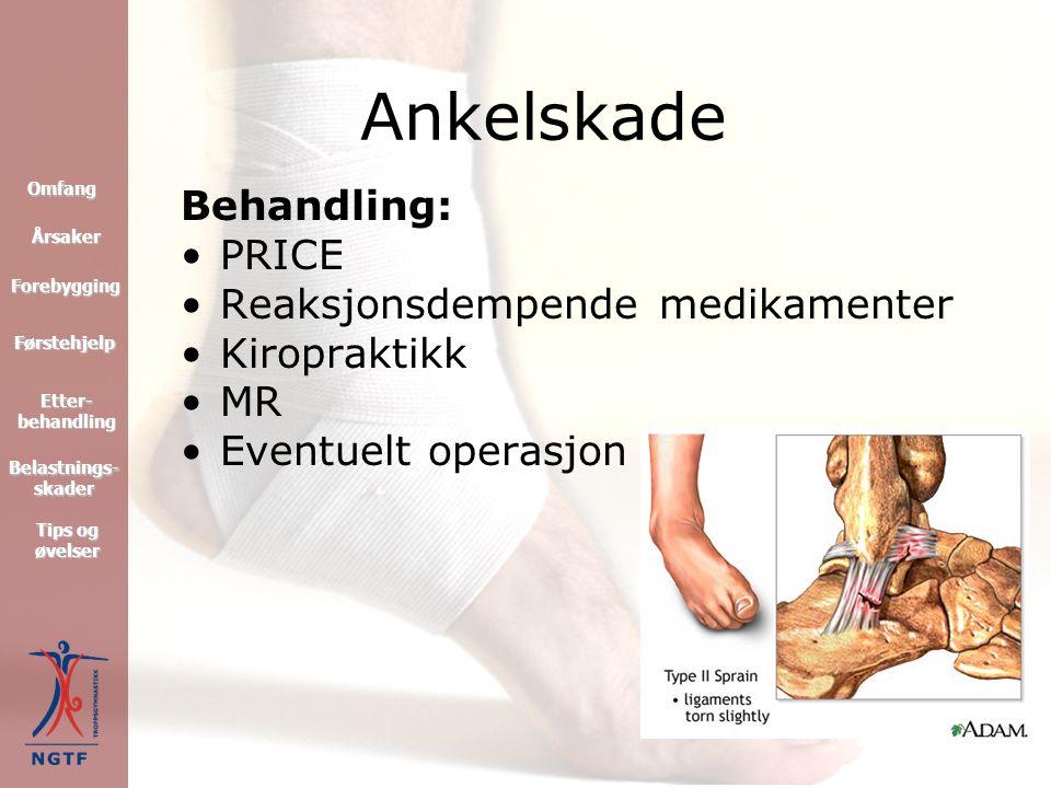 Symptomer (både ved delvis og total avrivning): Akutt smerte Hevelse Smerte ved belastning Ankelskade Førstehjelp Forebygging Omfang Tips og øvelser Tips og øvelser Etter- behandling Etter- behandling Årsaker Belastnings- skader Belastnings- skader