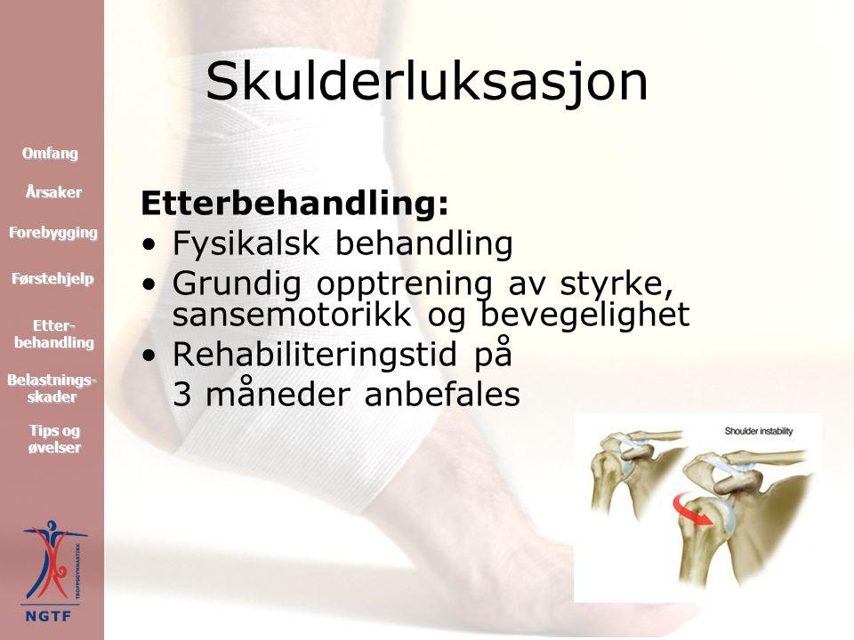 Kne – rehabilitering Førstehjelp Forebygging Omfang Tips og øvelser Tips og øvelser Etter- behandling Etter- behandling Årsaker Belastnings- skader Belastnings- skader