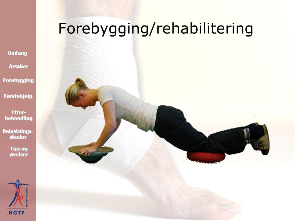 Forebygging/rehabilitering Førstehjelp Forebygging Omfang Tips og øvelser Tips og øvelser Etter- behandling Etter- behandling Årsaker Belastnings- skader Belastnings- skader