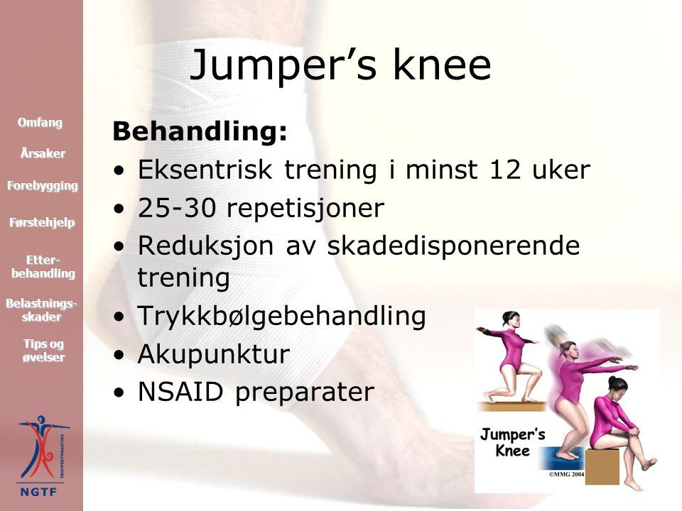 Jumper's knee Symptomer: Smerte under aktivitet Smerte ved bilkjøring, trappegang, kinositting osv.