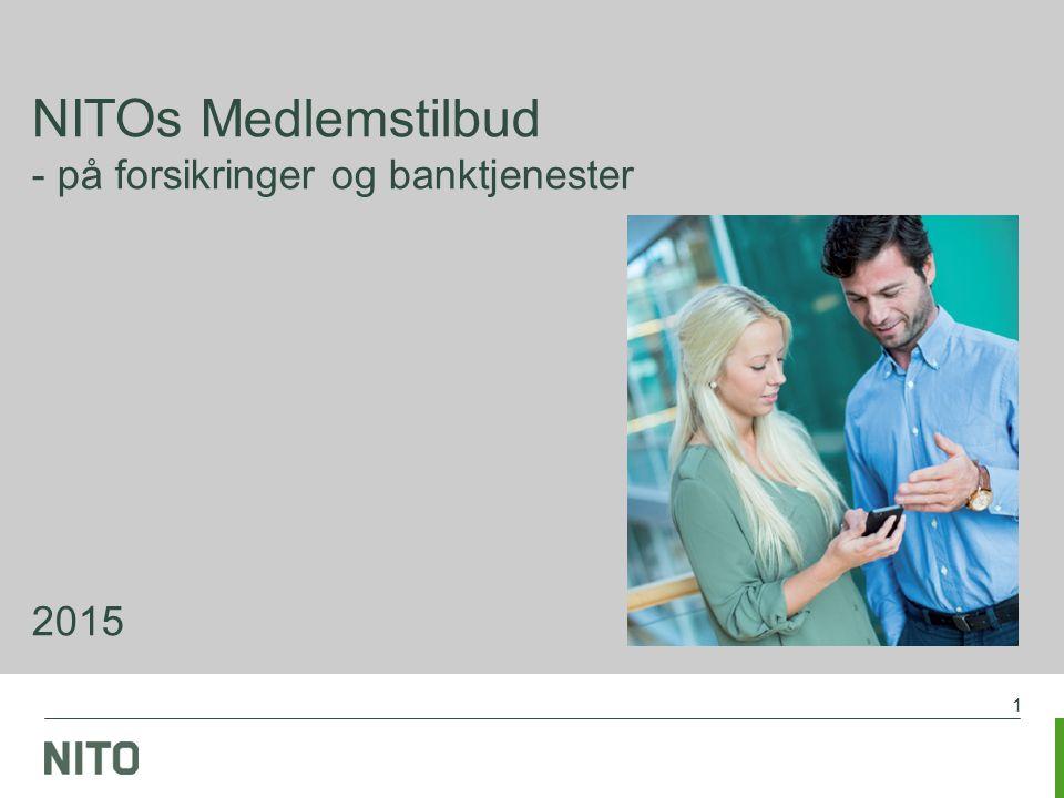 2 Forsikringer og banktjenester 2015, se www.nito.no Økonomisk trygghet for NITOs medlemmer NITOs medlemsavtaler på forsikring og bank gir medlemmene økonomiske fordeler og trygghet for optimale betingelser NITO har avtale med flere forskjellige leverandører du må henvende deg til det forsikringsselskapet eller den banken NITO har avtalen med for å få NITOs betingelser