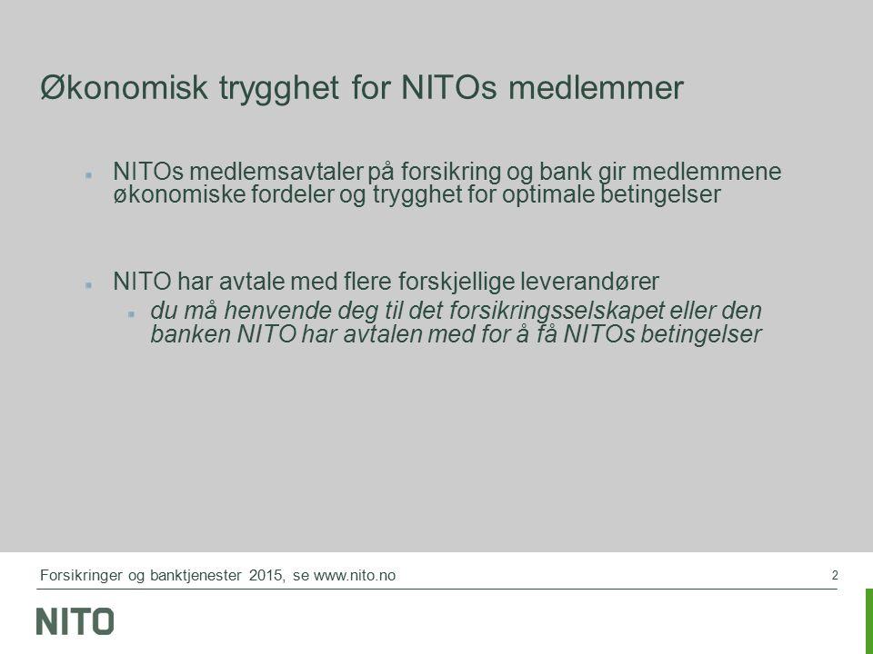 3 NITOs spesielle tilbud får du bare der NITO har sin medlemsavtale NITO Private skadeforsikringer NITO Banktilbud NITO Personforsikring NITO Ulykkesforsikringer - Grunnforsikring (basisdekning) - Utvidede Ulykkesforsikring NITO Kortet NITO Fondssparing NITO Innboforsikring NITO Innboforsikring for fritidsbolig Forsikringer og banktjenester 2015, se www.nito.no