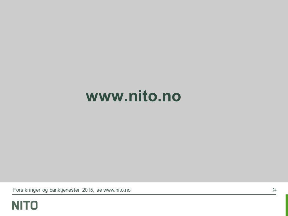 24 www.nito.no Forsikringer og banktjenester 2015, se www.nito.no
