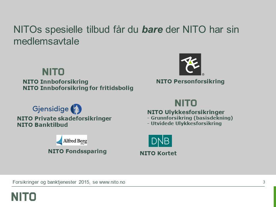3 NITOs spesielle tilbud får du bare der NITO har sin medlemsavtale NITO Private skadeforsikringer NITO Banktilbud NITO Personforsikring NITO Ulykkesf